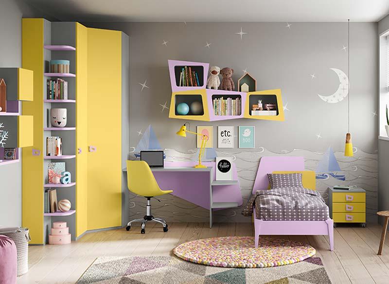 Cameretta Bambini grigio giallo lilla con scrittoio