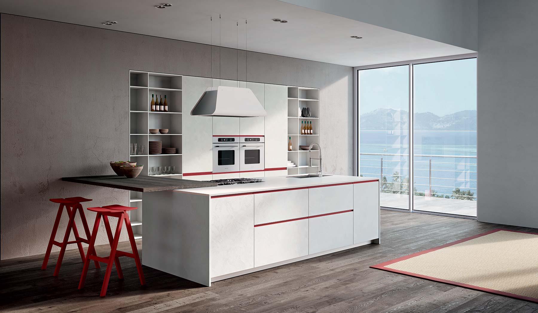 Cucina completa bianca e rossa Berloni con isola