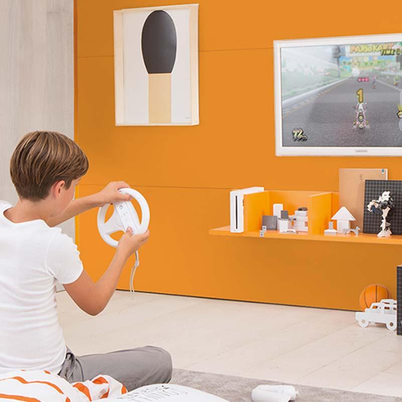 cameretta-arancione-abiente-per-divertimento-bambini