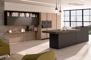 cucina con isola ante legno