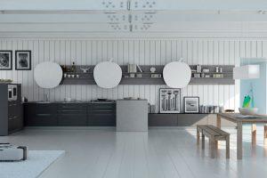 cucina grigio con tavolo
